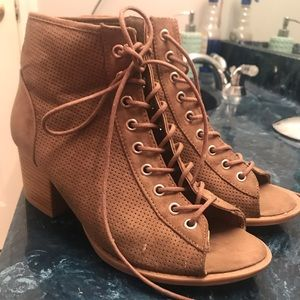 Taupe lace up suede booties